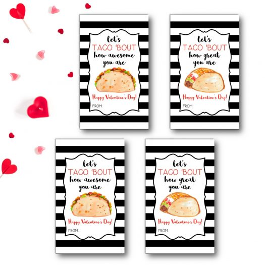 Taco Kids School Valentines Cards