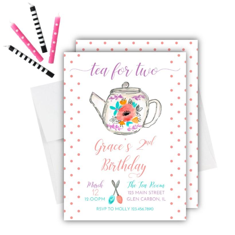 Tea Party Birthday Invitation