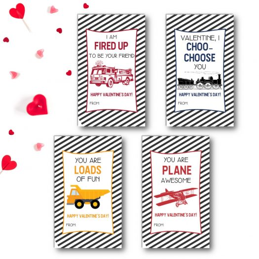 Transportation Kids School Valentines Cards