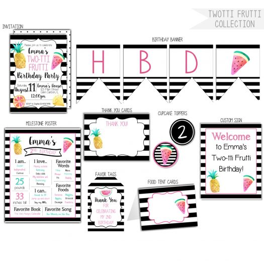 Twotti Frutti 2nd Birthday Party Pack