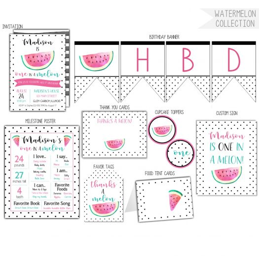 Watermelon 1st Birthday Party Pack