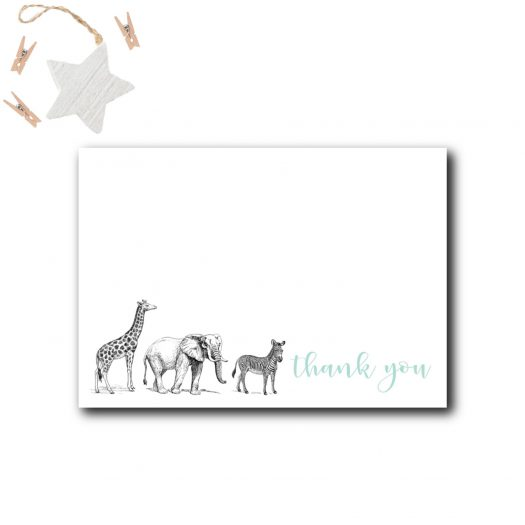 Zoo Baby Shower Thank You Card
